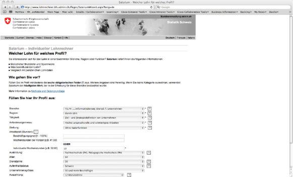 Abbildung 13: Profil für Salarium Lohnrechner
